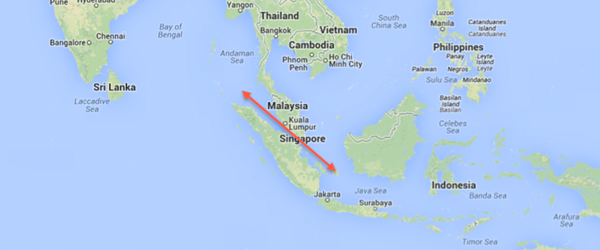 マラッカ海峡とはどこにある?マレーシア・マレー半島とインドネシア・スマトラ島の間の海峡との事。