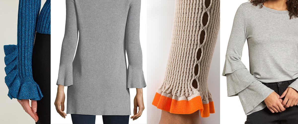 「ラッフルカフリブニット」とはどういう意味?英語で「Ruffle Cuff Rib knit」と記述するとの事。
